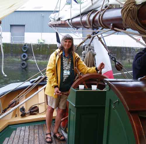 Josephine on board tall ship at Millford Dock